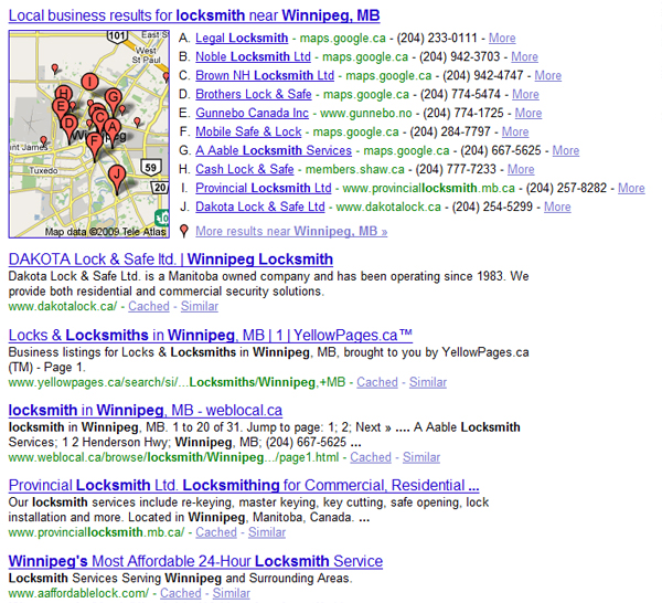 Google Search Results for locksmith winnipeg