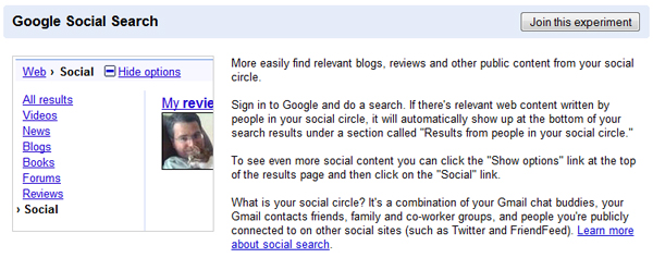 Google Social Search in Google Labs